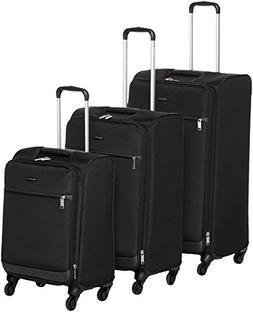 AmazonBasics Softside Spinner Luggage - 3 Piece Set , Black