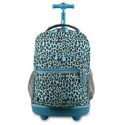"J World New York Sunrise Rolling Backpack, Mint Leopard, 18"""