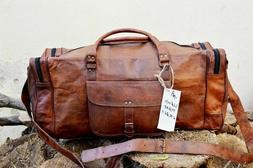 Tan Leather Duffle Bag steller Travel Weekend Luggage Overni
