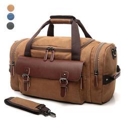 CrossLandy Travel Duffel Bag Leather Canvas Sports Gym Bag T