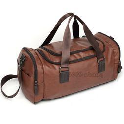 Travel Handbag Gym Leather Duffel Bag Weekender Overnight Lu