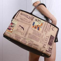 Vintage Leather Garment Bag For Women Girl Carry On Luggage