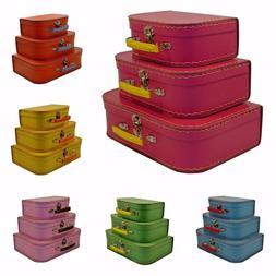Vintage Luggage 3 Piece Set Suitcase Train Case Retro Antiqu