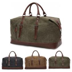 Vintage Men Travel Duffle Bag Luggage Canvas Gym Weekend Ove