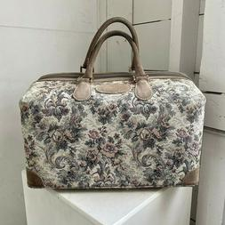 """Vtg FRENCH LUGGAGE CO """"Gray Rose"""" Suede Tapestry Cosmetic Ov"""