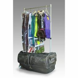 Wheeled Duffel Bag 28'' with Garment Rack Drop Bottom Compar